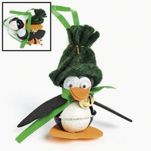 12 Metal Jingle Bell And Wooden Penguin Ornament Craft Kits